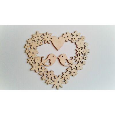 szív alakú virágkoszarú madarakkal ajtódísz