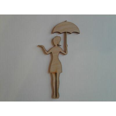 őszi dekor figura, esernyős nő