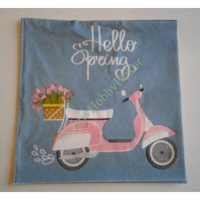 hello spring dekupázs szalvéta, robogó