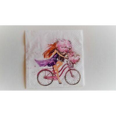 biciklis, virágos tavaszi, nyári dekupázs szalvéta