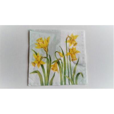 nárciszos tavaszi szalvéta, virágos dekupázs szalvéta