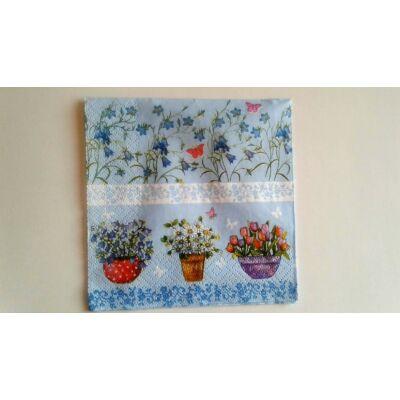 kék dekupázs szalvéta, tavaszi virágos szalvéta