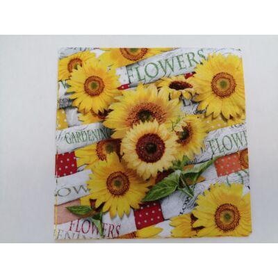 virágos, napraforgós dekupázs szalvéta