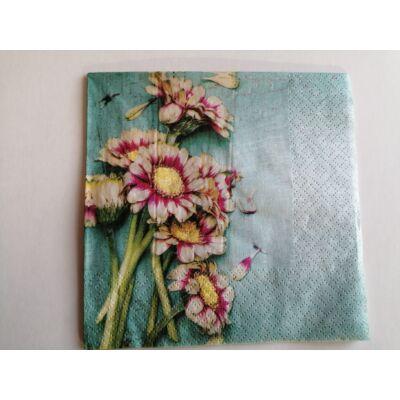 virágoss türkíz dekupázs szalvéta