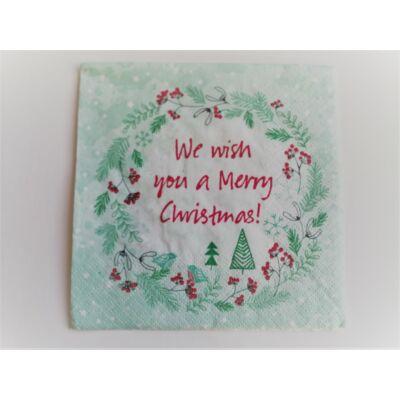we wish you a Merry Christmas feliratú karácsonyi szalvéta