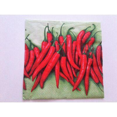 Chilis, paprikás, zöld-piros szalvéta