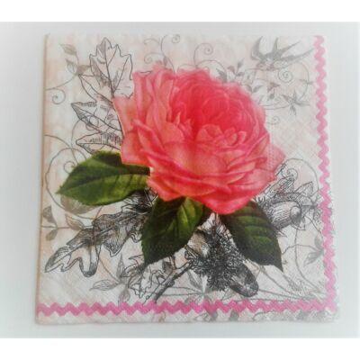rózsás decoupage szalvéta