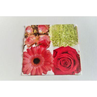 rózsás, virágos dekupázs szalvéta